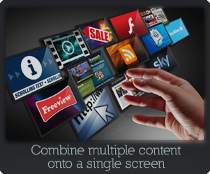 Combine scrolling text, Live TV, Freeview TV, satellite TV or video with image slideshows, QR codes, scrolling text, RSS, DHTML and flash all within your own branded grahical layout